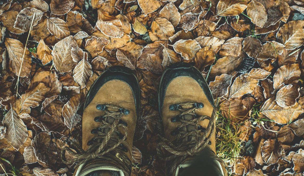 Hiking boots in some leaves