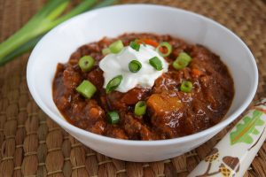 Bowl of venison chili