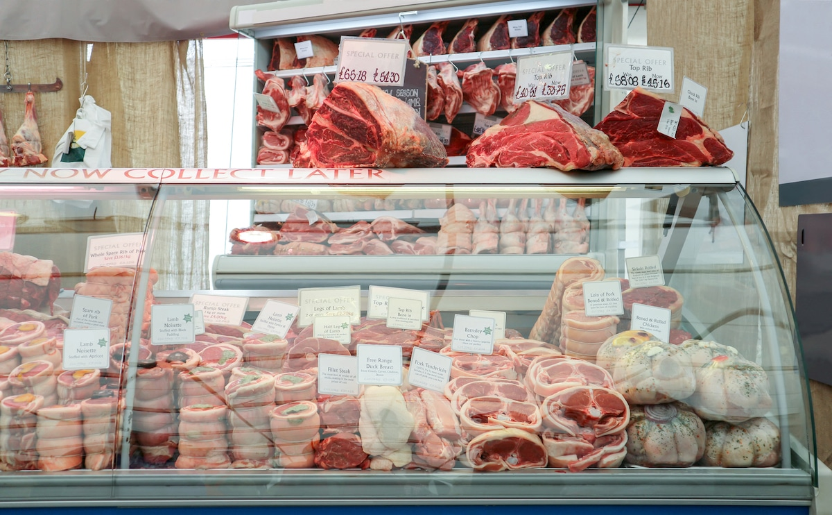 Raw meat at Butcher shop.