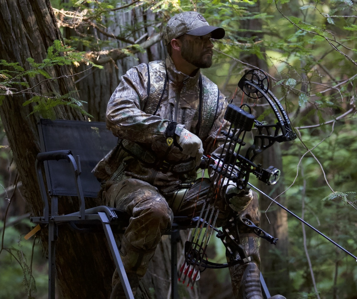 Bow hunter in a tree stand