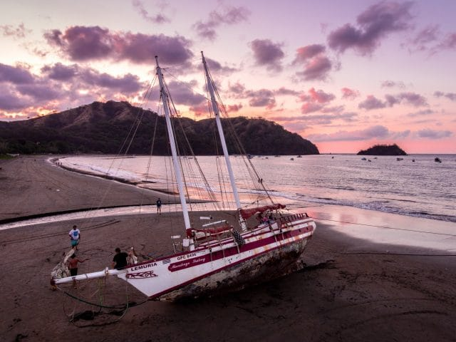 Boat Run Ashore in Del Coco Beach, Costa Rica