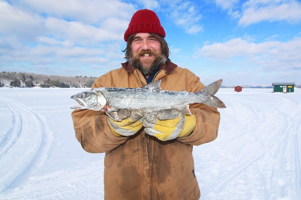 Winter Outdoor Trout Canada Cold Lake Ice Fishing