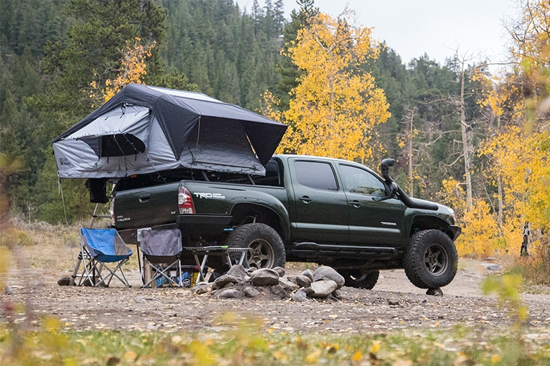 Toyota Tacoma pickup truck with roof top tent camping setup