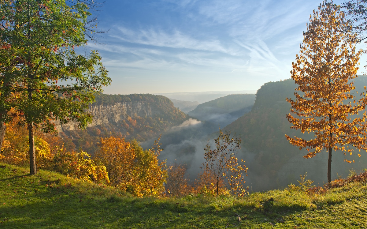 Great Bend Overlook At Letchworth State Park In New York Just After Sunrise
