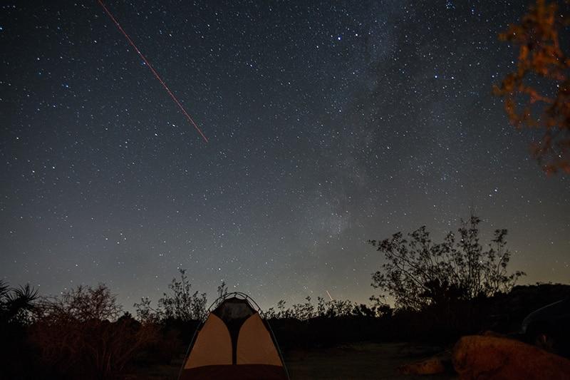 Stargazing during a spring camping trip at Joshua Tree Park