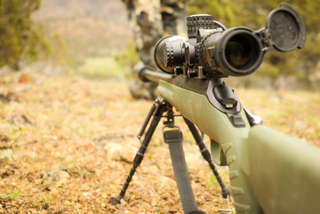 precision bolt action rifle with scope
