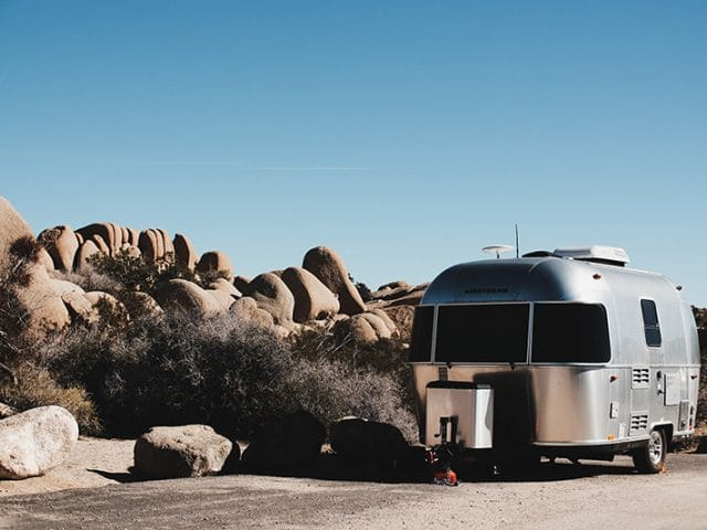 RV parked at a free campsite in the desert