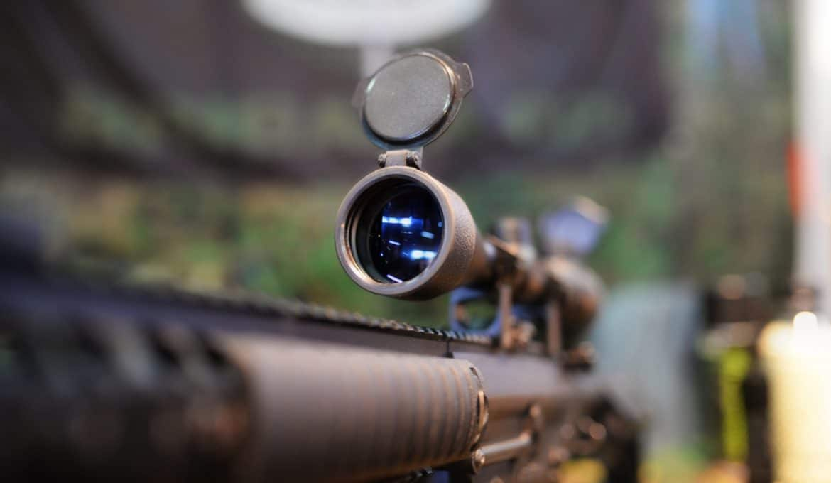 Closeup of a rifle scope in a shop