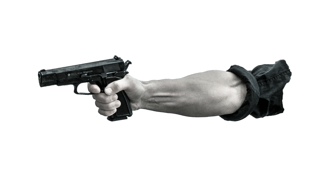 arm pointing a gun to the left