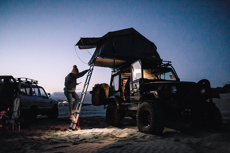 4x4 camping on Pismo State Beach in Oceano, California