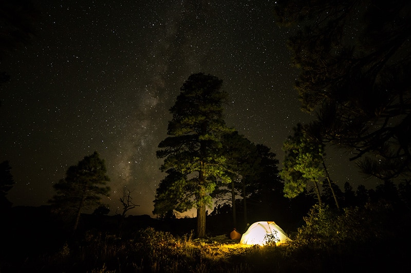 Camping at night in a backcountry campsite in Zion National Park, Utah
