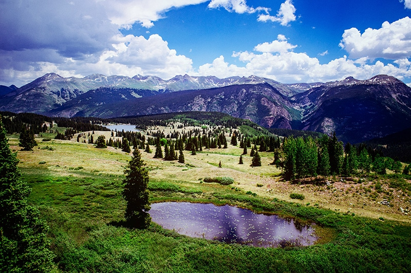 A pristine backcountry campsite off the Alpine Loop Trail in Colorado