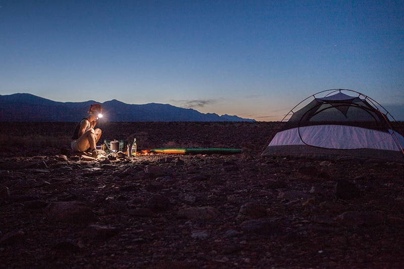 Backcountry camping in Death Valley, California