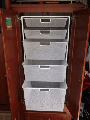 how to add storage space to your RV - drawer units in cupboards