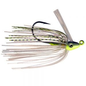 yellow and white swim jig
