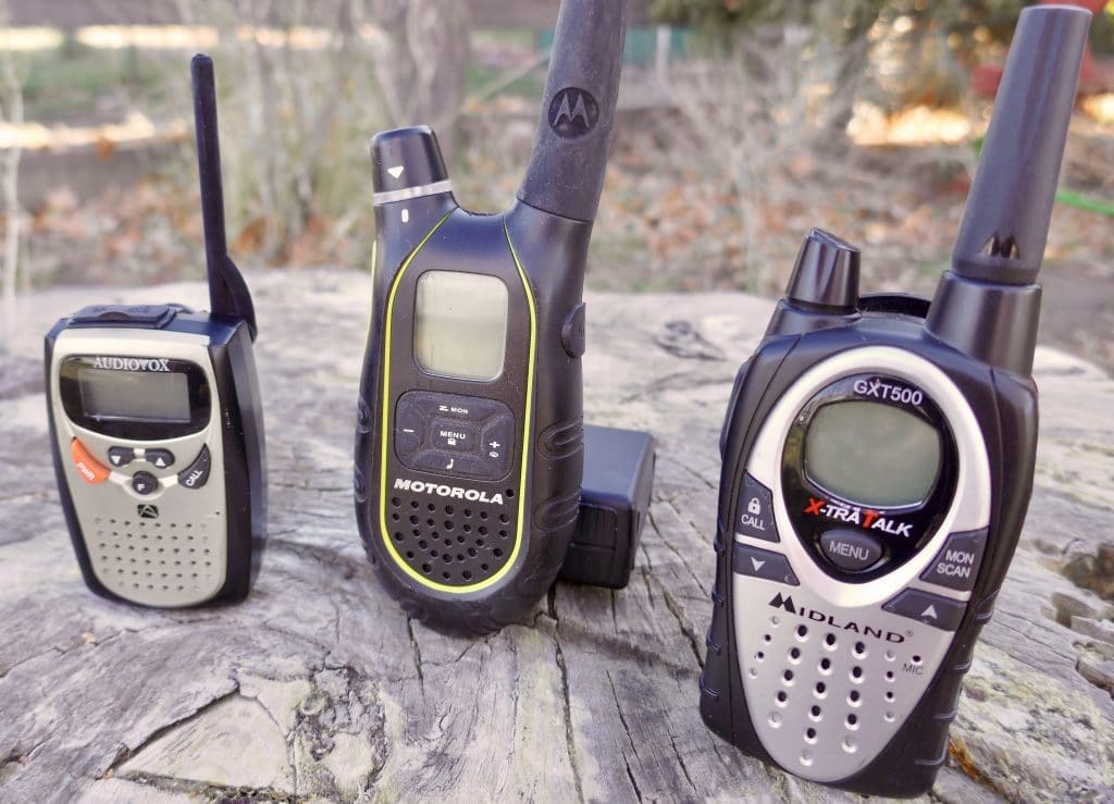Left to Right: Compact FRS Radio, GMRS Radio, Combo FRS/GMRS Radio