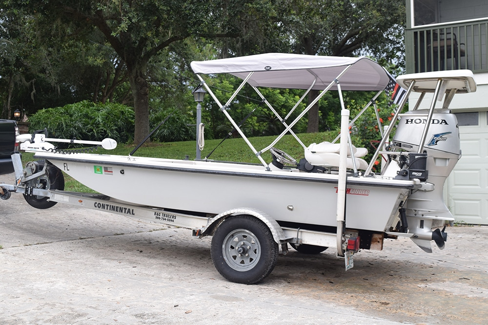 Flats fishing boat on a trailer