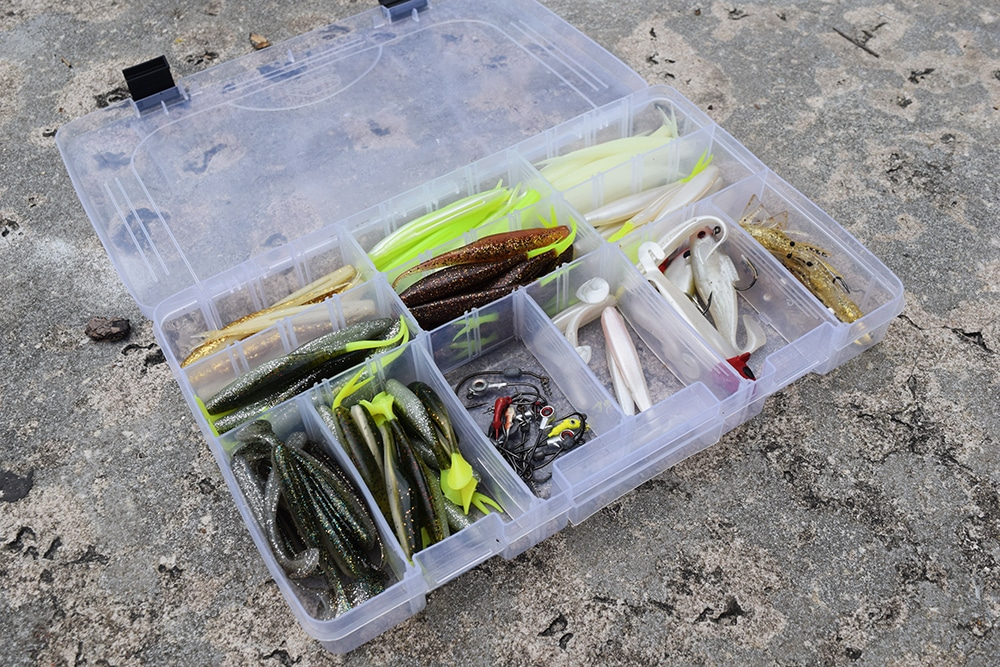 Tackle box with lures