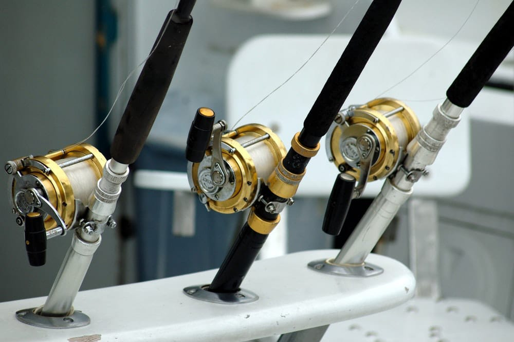 Three fishing reels