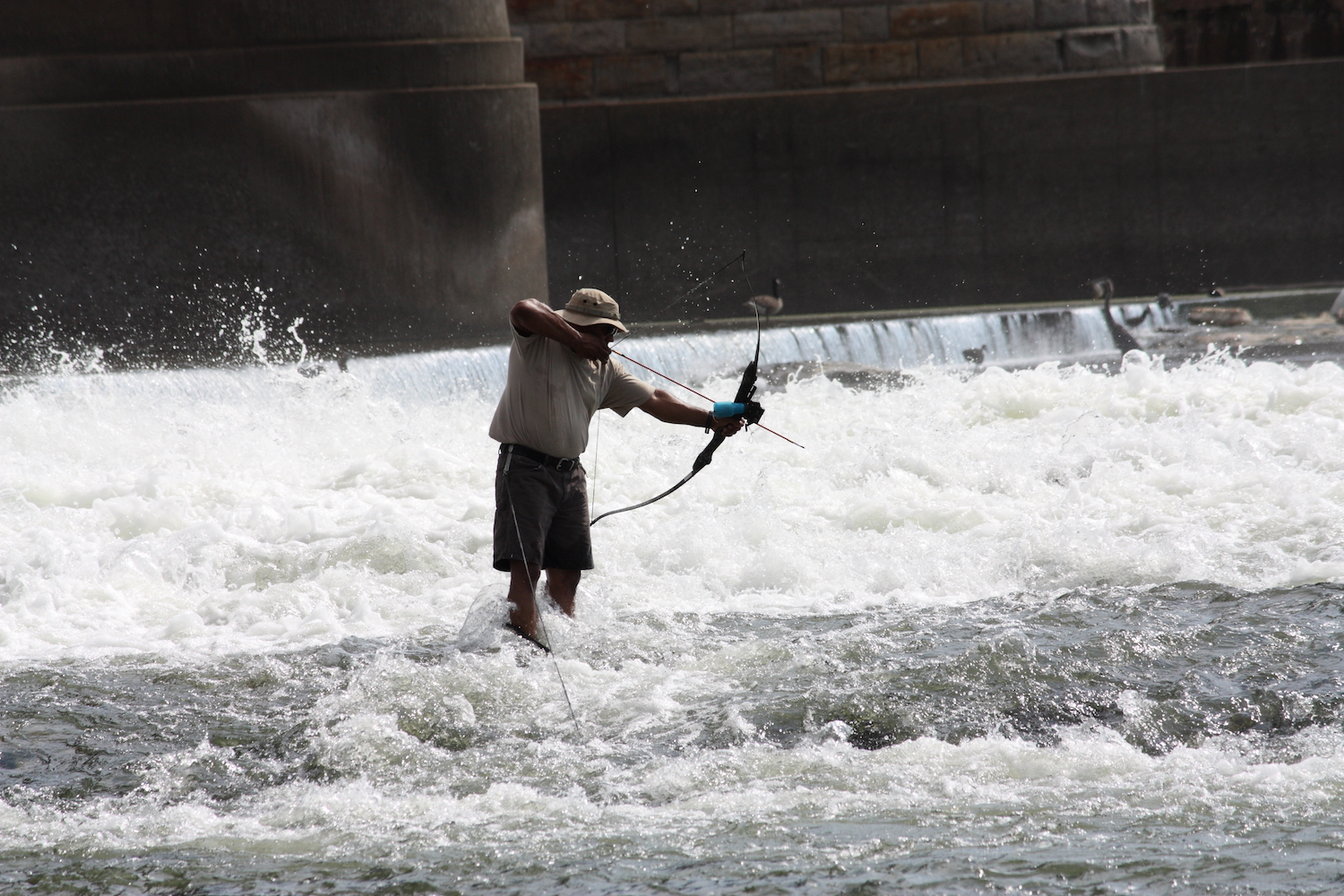 Bow fishing in rapids