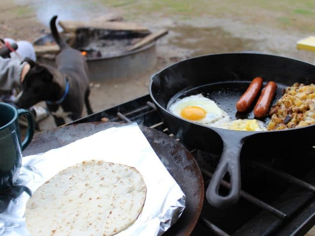 A camping breakfast spread.