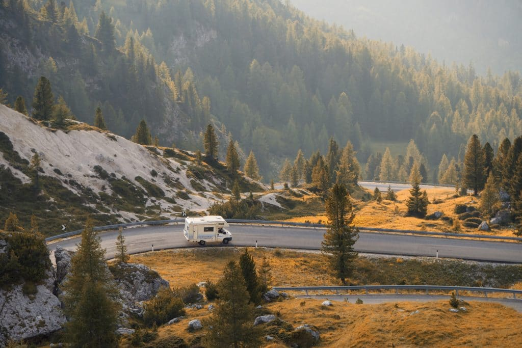 RV driving on a scenic route