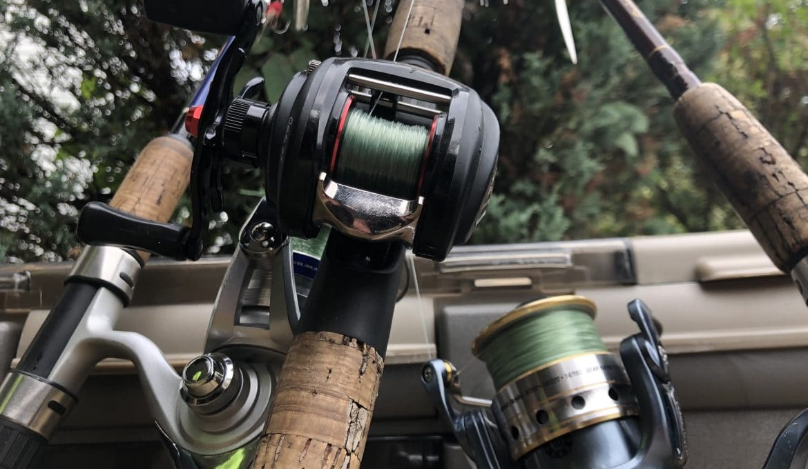 Fishing reels on a tackle box