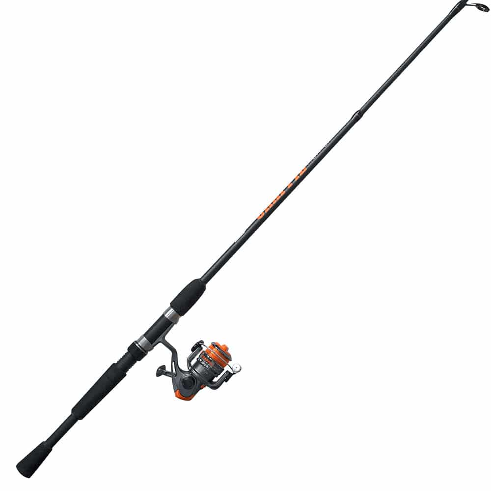 Black silver and orange fishing pole