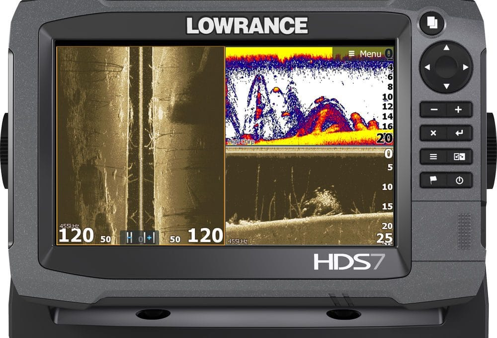 gray Lowrance fish finder with GPS