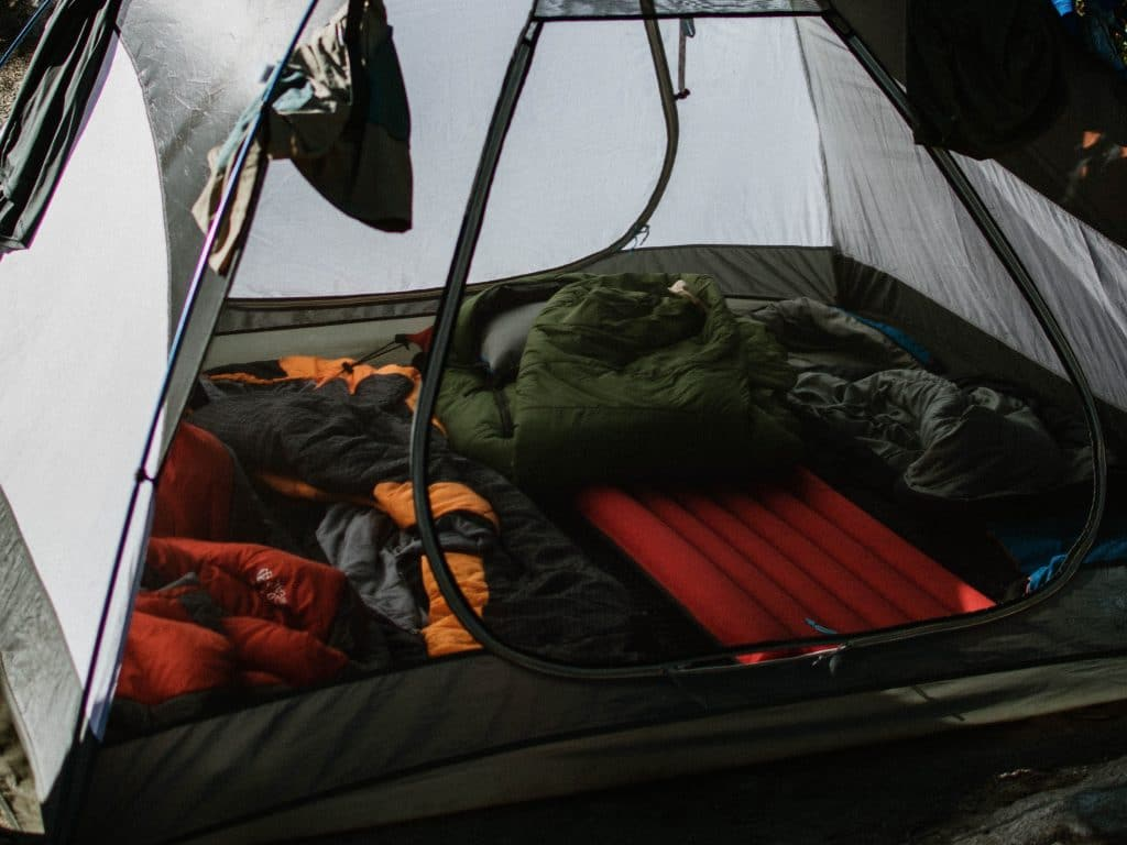 sleeping bags and tent