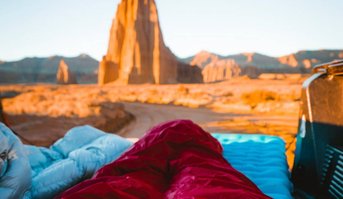 sleeping bags in Capitol Reef National Park