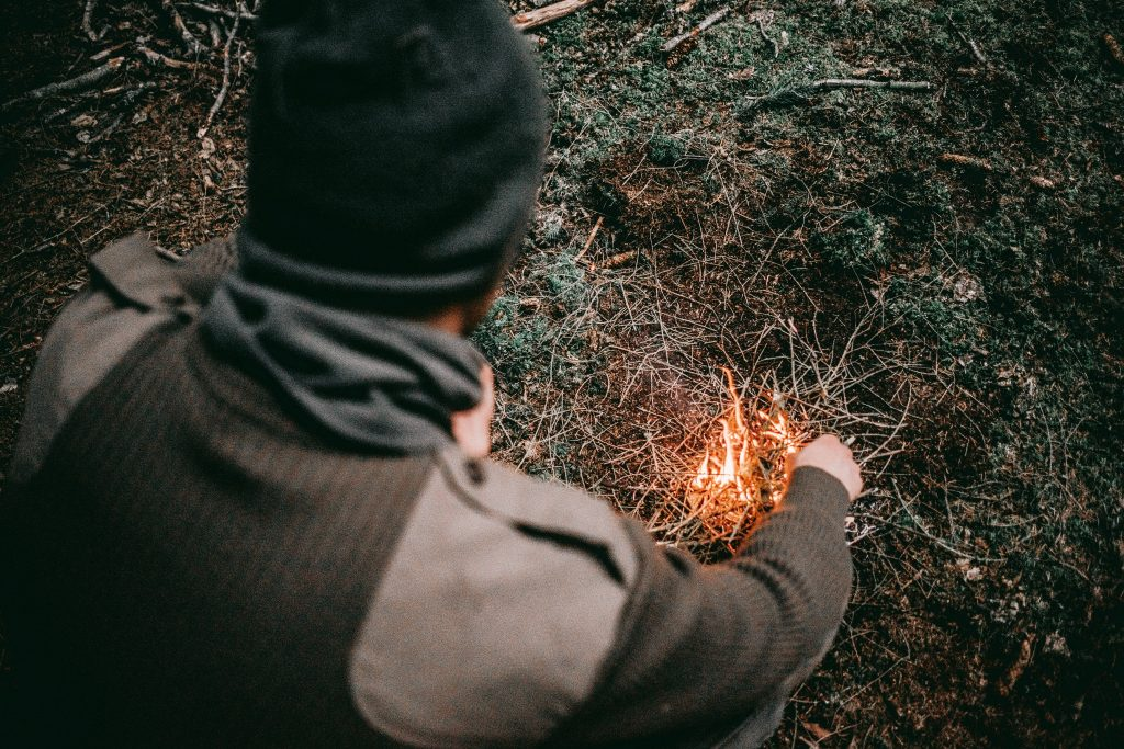 Starting a fire with kindling