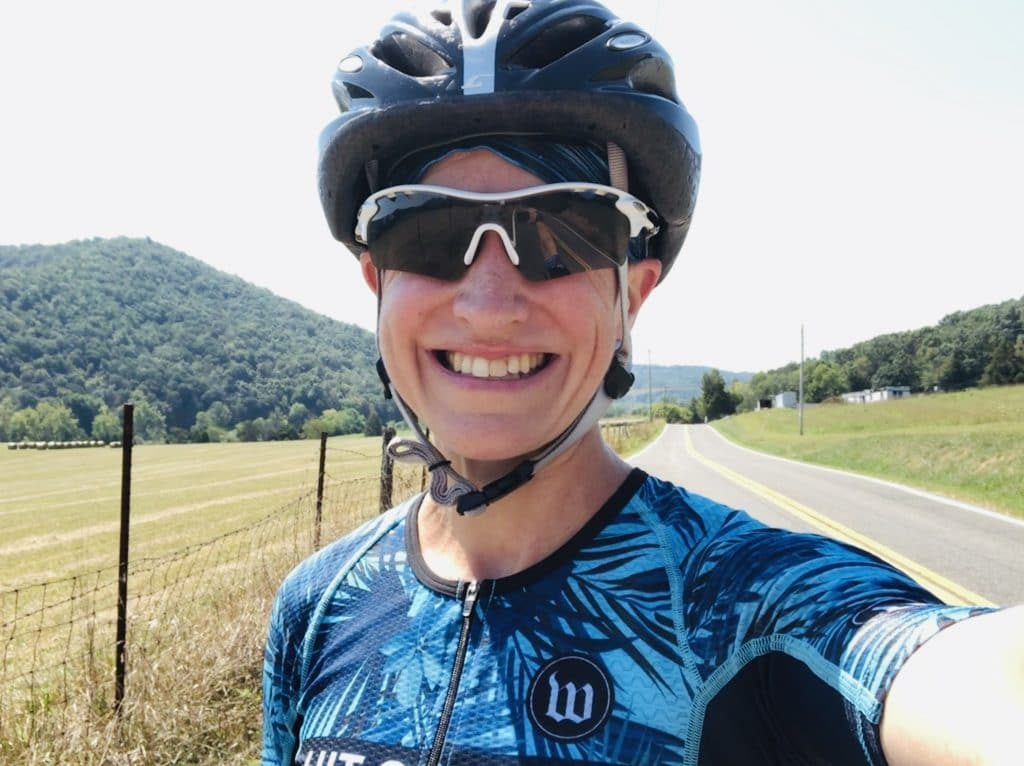 Jen Jordan cycling in southwest VA