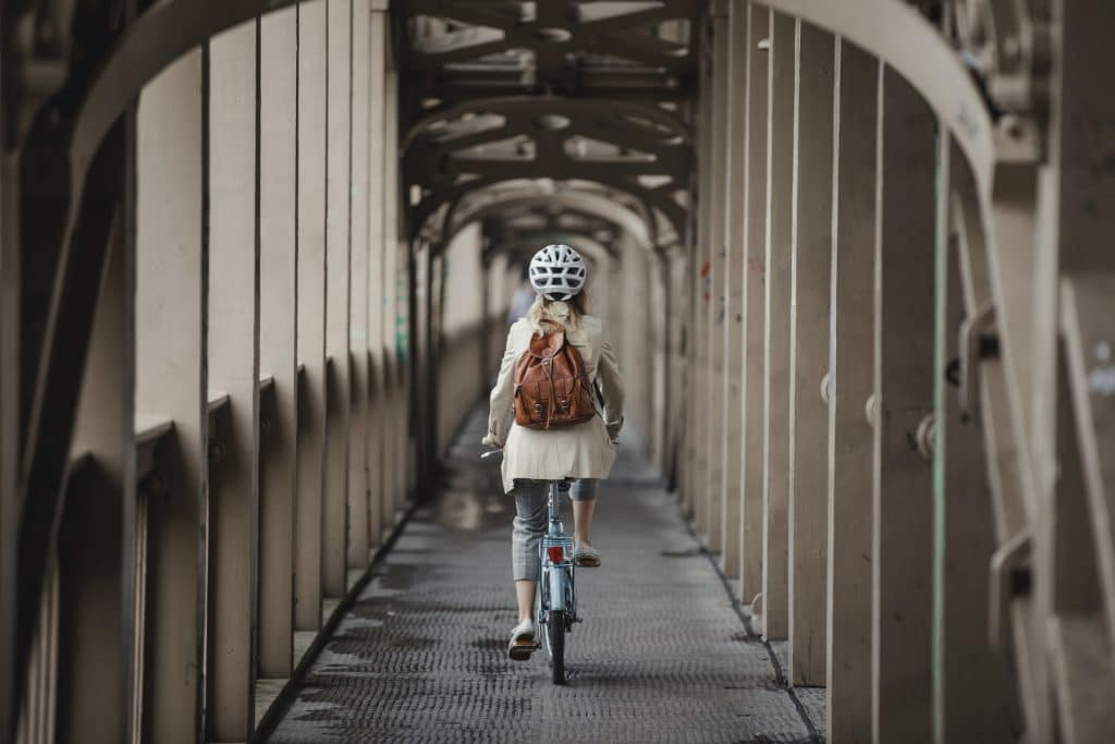 A woman commuting on a bicycle
