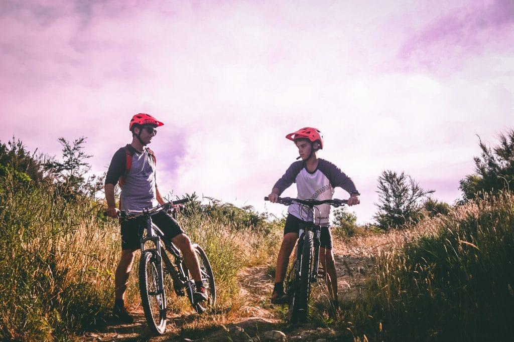 Two men on mountain bikes