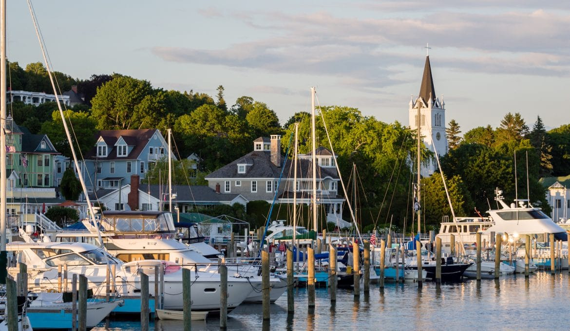 This is the harbor at Mackinac Island in Michigan during the summer.