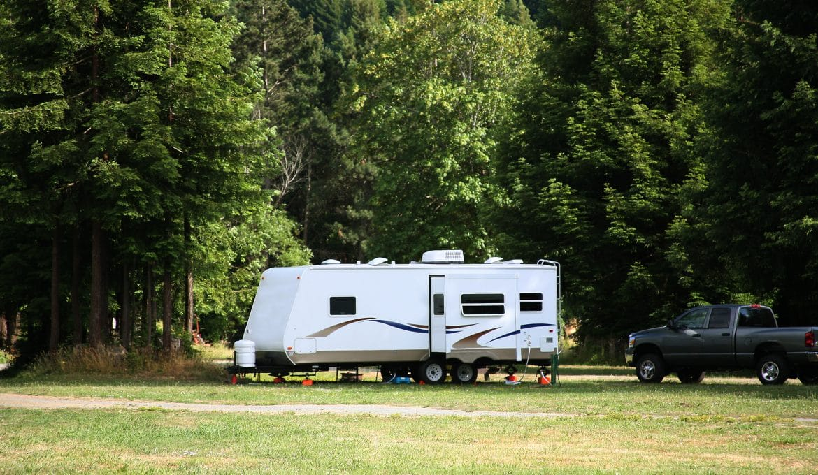 Camping with RV in the Redwood Forest