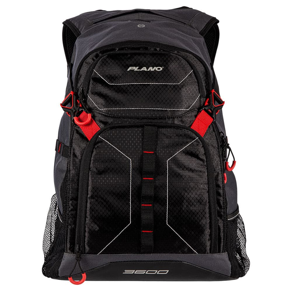 Red and black Plano fishing tackle backpack