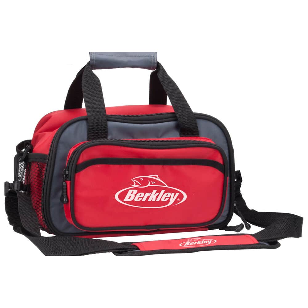 Black and red soft Berkley fishing tackle box