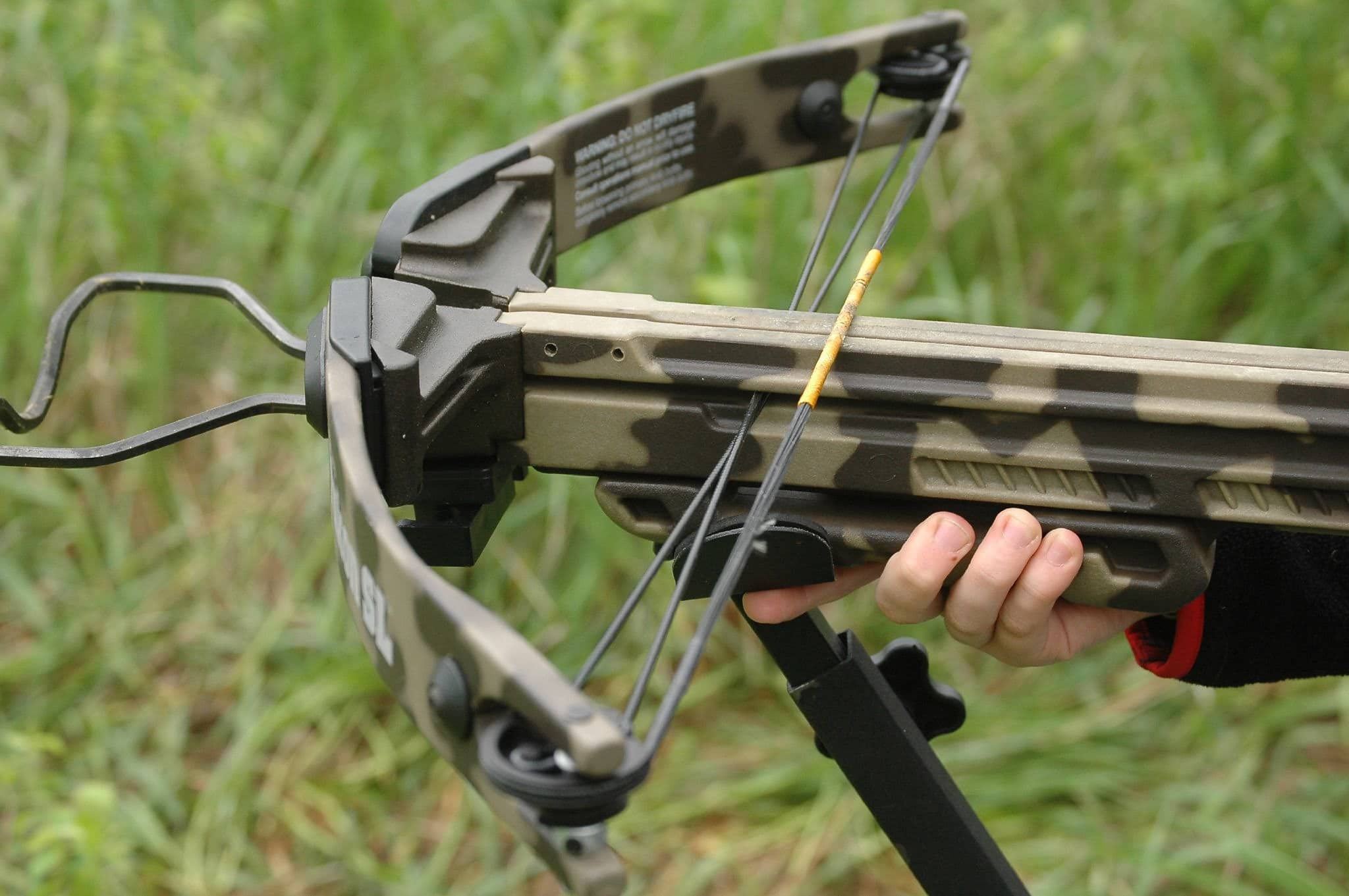 Hand on End of Crossbow