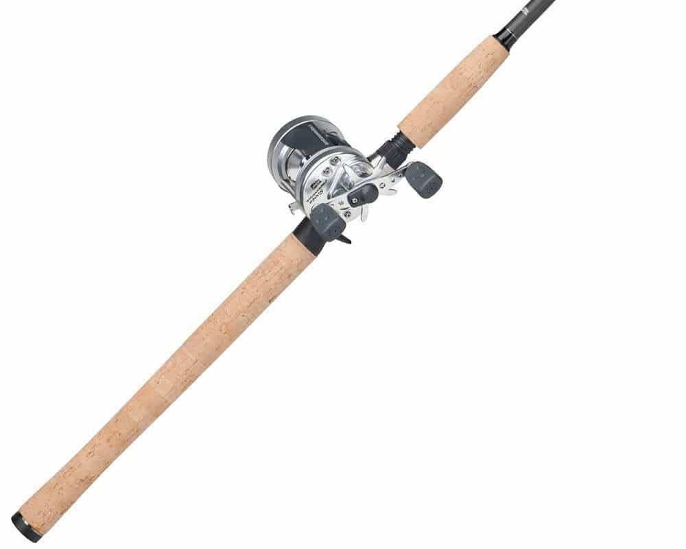silver Abu Garcia Ambassadeur baitcasting fishing rod and reel combo