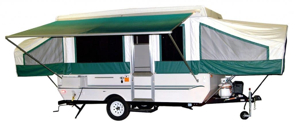 Photo of pop-up camper with path selected and awning out