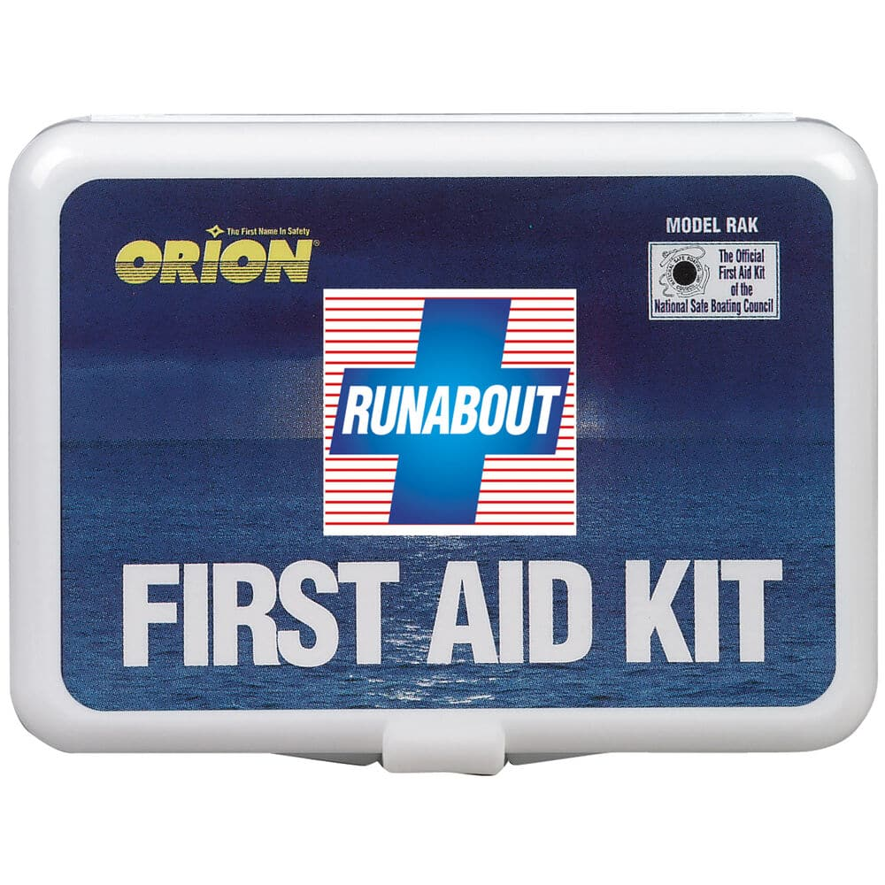 red, white, and blue first aid kit
