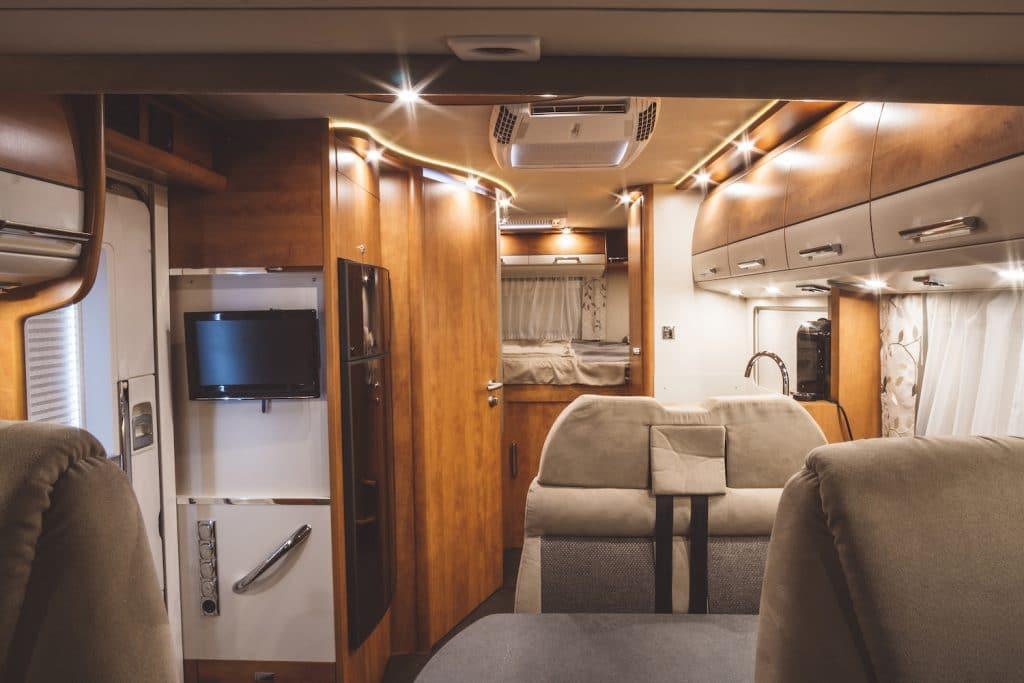 Inside of a modern caravan