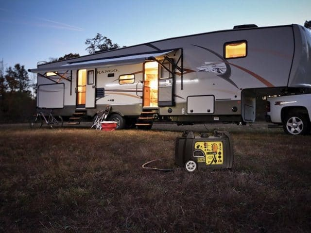 a portable generator powering an RV