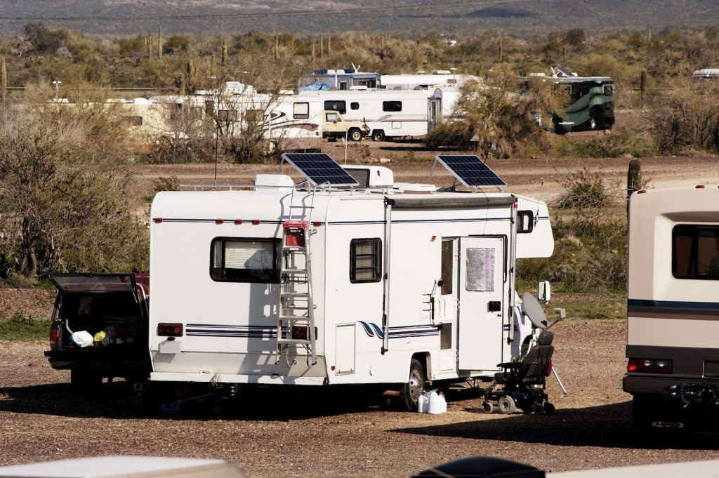An RV using solar power