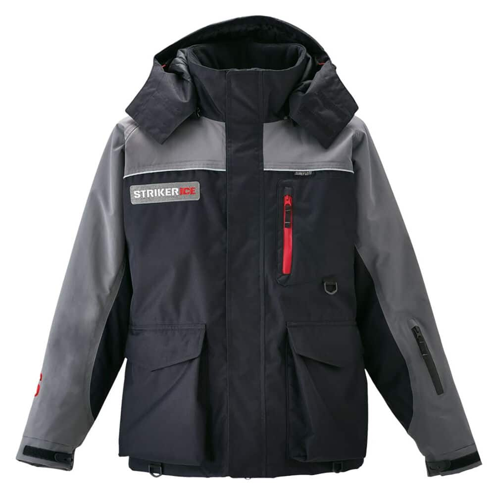 Gray and black Striker ice fishing jacket