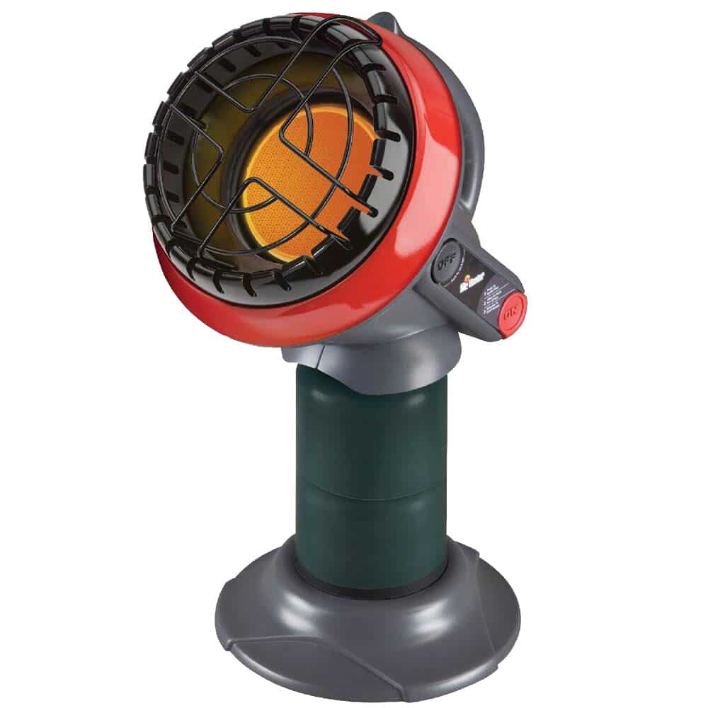 green and red portable propane heater
