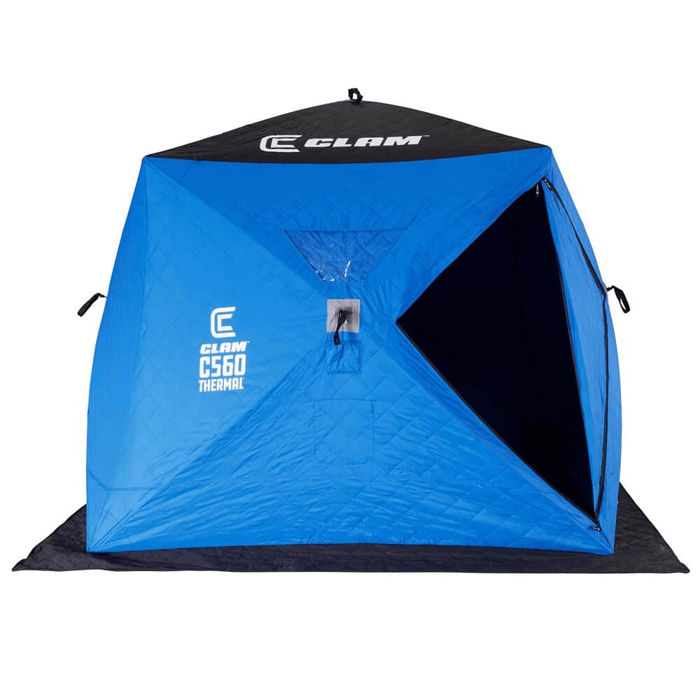 blue and black Clam ice fishing shelter