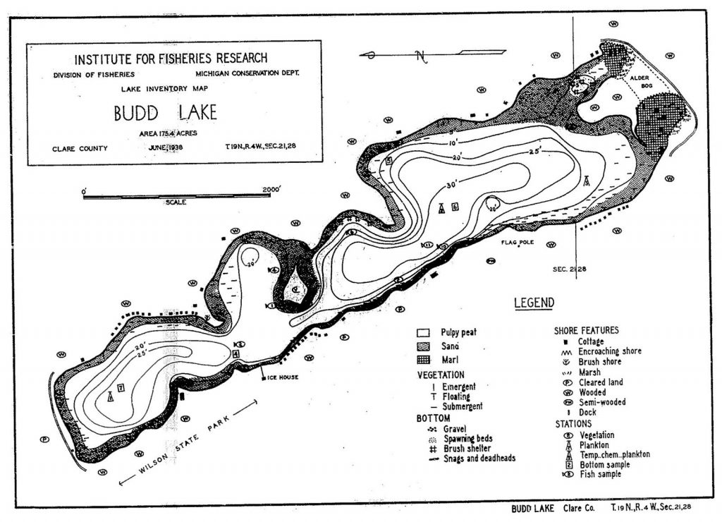 topographic map of lake in Michigan